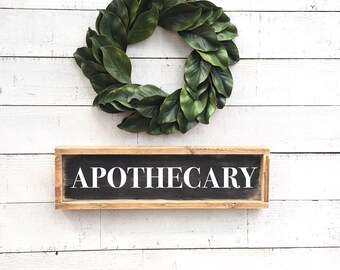 Apothecary, black framed shiplap, vintage home Decor