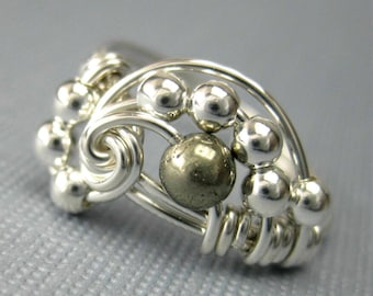Pi -- Wire Wrapped Ring Pyrite and Sterling Silver Pi