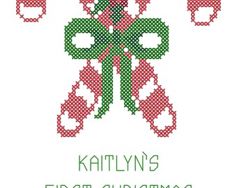 Candy Cane Cross Stitch Pattern, Christmas Cross Stitch Pattern, Christmas cross stitch, baby cross stitch pattern