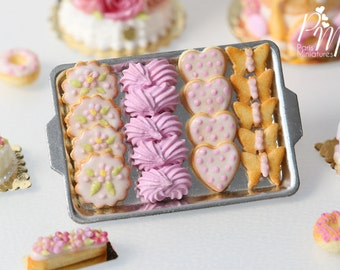 MTO-Pink-Themed Butter Cookies and Pink Meringues on Metal Baking Tray - 12th Scale Miniature Food (Pink Collection 2016)