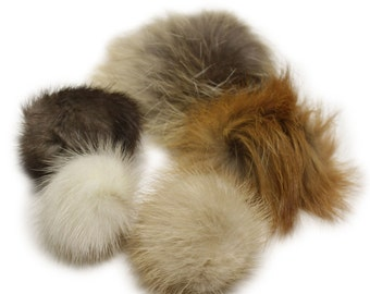 "5-pack Lana's 1.5""-2.5"" Real Fur Pom-Poms - Mink, Coyote, Fox Fur"