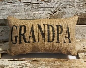 "Burlap Grandpa 11"" x 6"" Stuffed Pillow Father's Day Or Burlap Birthday Gift"