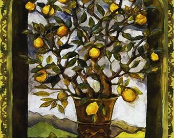 Lemon Tree Art Tile Wall Hanging