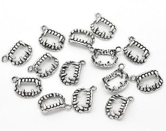 10 pieces Antique Silver Vampire Teeth Charms