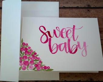 Pink Rosebud, Watercolor Baby Shower Card, Handmade
