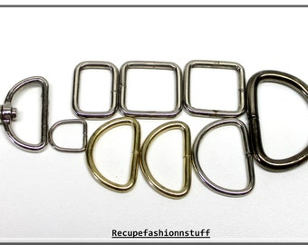 metal d-rings,metal square rings,metal rectangle rings,carabiner,non welded,nickel and gold,crafting,sewing,costume making,purse making,