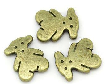 Set of 50 Teddy bear metal beads bronze 11x9mm