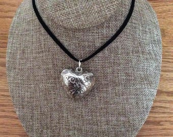 Medium size Heart pendant necklace puffy, puffy heart, Made in Canada, Jewelry, handmade, Laska Boutique