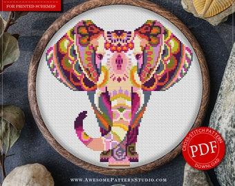 Mandala Elephant Cross Stitch Pattern for Instant Download *P111 | Lovely Cross Stitch| Room Decor| Needlecraft Pattern| Easy Cross Stitch