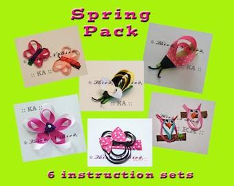 6 Pack - Spring Hair Clip Ribbon Sculpture Instruction Set