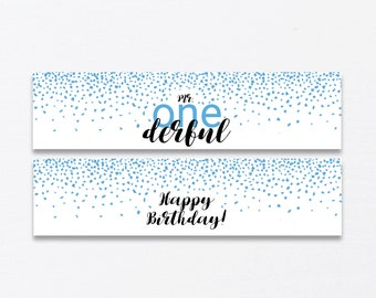 1st Birthday Party Water Bottle Labels Printable, Mr Onederful and Happy Birthday Water Bottle Labels, Blue Confetti Sprinkles, Instant PDF