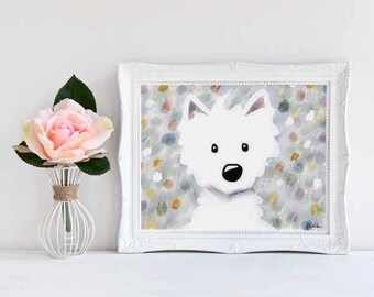 Westie Dog Impressions iPad Painting Signed Small Art PRINT