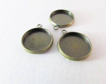 Setting Cabochon ant. bronze tray 14,5mm