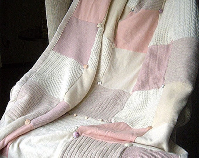 """My """"Sea Shells"""" Wool Sweater Quilt — I can make one similar for you!"""
