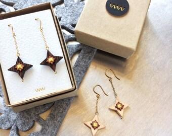 Gold star earrings, Black earrings, Gold earrings for women, Wooden earrings, Beaded earrings, Chain earrings, Gold drop earrings gold chain