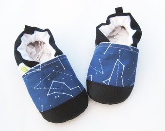 Classic Vegan Constellation in Blue / Non-Slip Soft Sole Shoes / Made to Order / Babies Toddlers Preschool