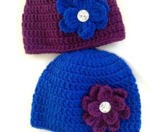 Crochet Beanie Hat, Purple Beanie Hat,  Blue Beanie Hat, Baby Beanie Hat, Toddler Hats,  Child Beanie Hat, Rhinestone Hat, Spring Hats
