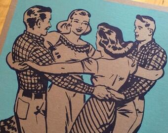 SQUARE DANCE POSTER Basket Hands Around Design/Hand Printed Letterpress Print/Southern Art/Gift for Dancers/Nostalgic Decor/Rustic Wall Art