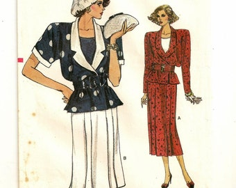 "A 1940's Inspired Wrap Jacket, Sleeveless Top, and Pleated Straight Skirt Pattern for Women: Sizes 8-10-12, Bust 31-1/2"" - 34"" • Vogue 9616"