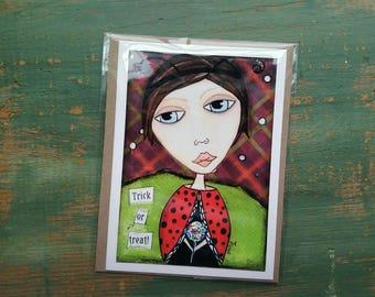 SALE!  Halloween Card, Halloween Art, Greeting Card, Note card Sale card Clearance Card, Whimsical Halloween, Whimsical Girl, Ladybug Girl