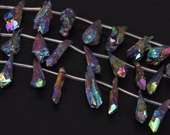 Rainbow Titanium Quartz Point Natural Point Teardrop Shape Briolette Pendant Beads Crystal Jewelry