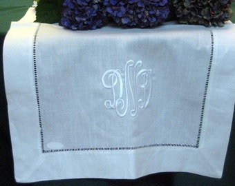 Linen Table Runner White Hemstitched  20in.x 84in. - Cake Table - Wedding - Decoration - Beautiful - Sweet - Head Table - Monogram