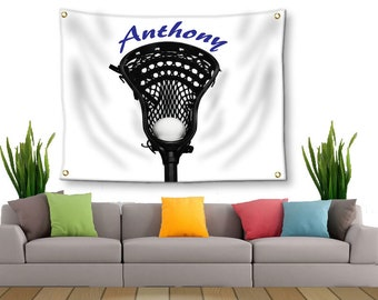 Boys Wall Decor-Lacrosse Tapestry-Boys Lacrosse-Tapestry with Grommets-Personalized Wall Decor-Lacrosse Wall Decor-Custom Sports Decor