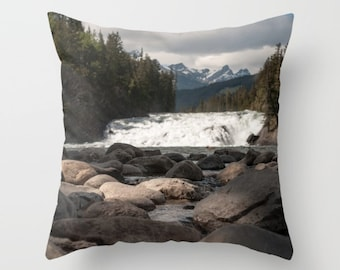 Mountain Cushion Covers with Trees, Rustic Lodge Decor, Accent Pillow Covers For A Cabin, Grey Lake House Sofa Art, Bow Falls Banff Alberta