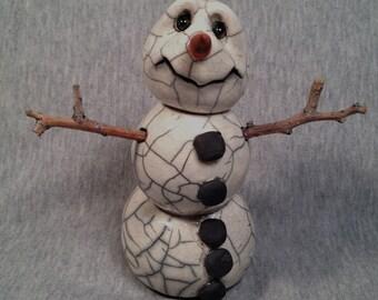OOAK Raku  -SNOWMAN 3 -  Sculpture