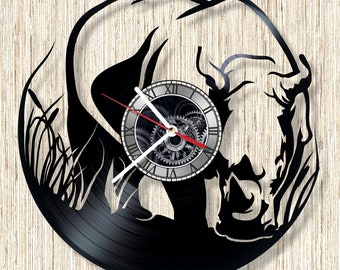 Rhino vinyl record wall clock unique home decor and wonderful gift idea