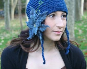 Secret Garden Felted Flower Hat- Forest, Teal, Aqua- All Wool Ear Flap Hat