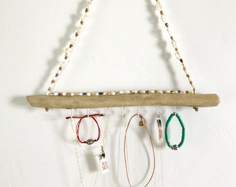 Driftwood Jewelry Holder, Jewelry Display, Jewelry Hanger, Sea Shells, Hawaii Jewelry, Gift, Kauai
