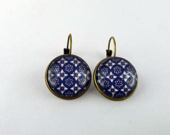 """""""Blue mosaic"""" Stud Earrings cabochon and bronze"""