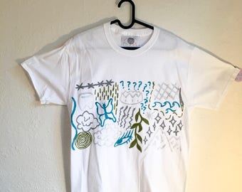 Painted White T-Shirt by Sam Pletcher 〰 Hand Painted One of a Kind Adult Medium Shirt 〰 Blue, Glitter, Gray, and Olive Green