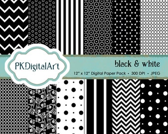 Black & White digital scrapbook paper; instant download backgrounds and textures