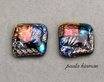 Pair Dichroic Glass Cabochons #101 set