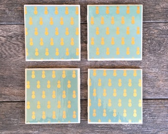 """Turquoise and Gold Pineapple Pattern """"Krista"""" Ceramic Coasters"""