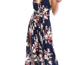 woman navy V-neck floral print open back splited hem jumper