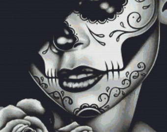 Sugar Skull Cross Stitch Kit by Carissa Rose 'Lolita' Day of  the Dead Cross Stitch