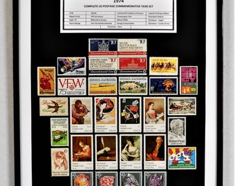 1974 Complete US Postage Commemorative Year Set - Birth Year Gift - Postage Art