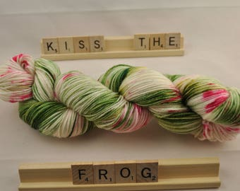 """Hand-dyed yarn, """"Kiss The Frog"""" speckled, variegated, soft and squishy yarn. Great for socks or shawls. 80/20 Superwash wool/Nylon"""