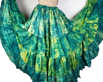 Green SKIRT dancing Gypsy silk Bohemian flamenco ample Andalusia ajf16 yellow-green boho gypsy
