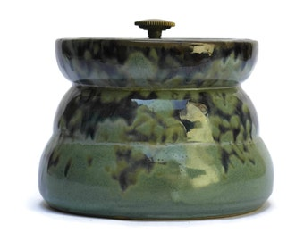 Mid Century Art Pottery Tobacco Jar Humidor with Screw Top Lid. Gift For Smoker.