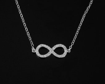 CZ Infinity Necklace or Bracelet in Silver or Gold