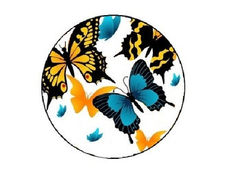 25mm, blue and yellow butterflies