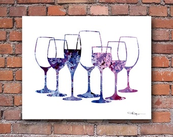 Wine Glasses Art Print - Abstract Watercolor Painting -  Wall Decor