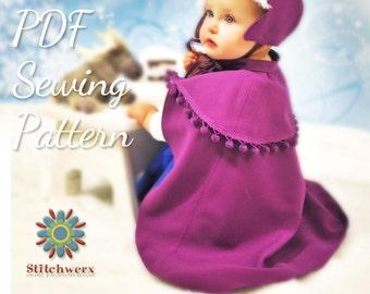 Princess Anna Cape, Sewing Pattern, Frozen Cape, Winter Cape PDF, Sew Winter Cape, PDF Cape Pattern, Baby Clothes Pattern, Childs Cape