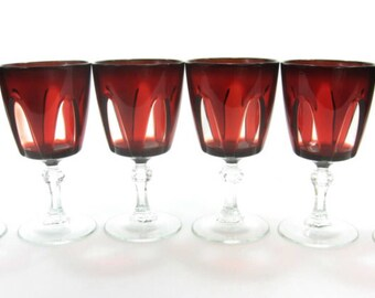 Garnet Color Ruby Red Wine Glasses, Delicate Glass, Elegant Dining Crystal, Made in France, Chistmas Dinnerware