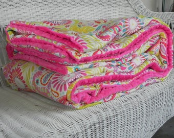 Twin Minky Comforter - Kumari Garden Designer Fabrics - Kumari Garden - Choose Sham Option For Set - MADE TO ORDER