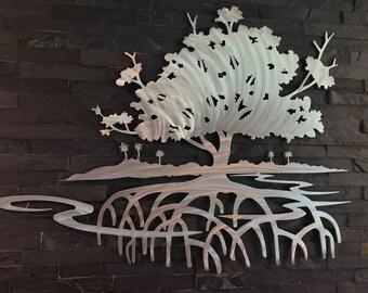Mangrove Tree, Metal Wall art  art Metal Fish Art  Metal Wall art home decor sculpture